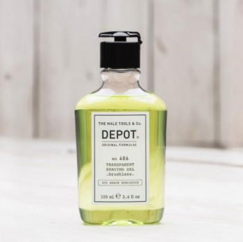 DEPOT NO.406 TRANSPARENT SHAVING GEL brushless transparentny żel do golenia, bez użycia pędzla 100ml